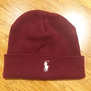 Ralph Lauren Polo maroon beanie hat. One size EUC